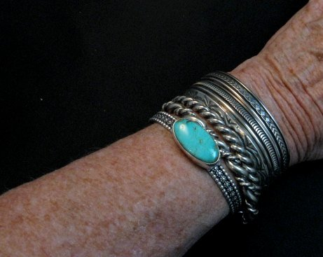Image 4 of Navajo Turquoise Stacker Cuff Bracelet, Everett and Mary Teller