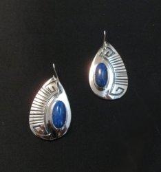 Navajo Handmade Silver Lapis Overlay Earrings, Everett & Mary Teller