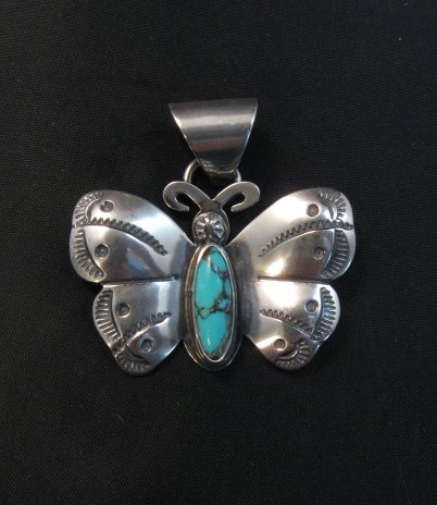 Image 0 of Everett and Mary Teller Navajo Native American Turquoise Butterfly Pendant