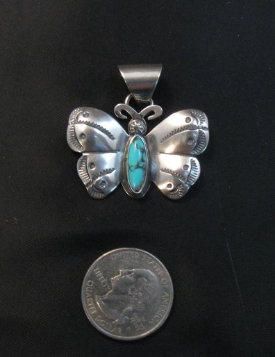 Image 2 of Everett and Mary Teller Navajo Native American Turquoise Butterfly Pendant