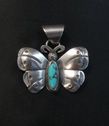Everett and Mary Teller Navajo Native American Turquoise Butterfly Pendant