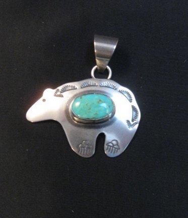 Image 4 of Turquoise Navajo Silver Bear Pendant, Everett & Mary Teller