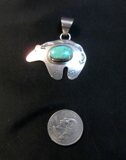 Image 2 of Turquoise Navajo Silver Bear Pendant, Everett & Mary Teller