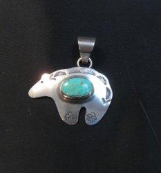 Turquoise Navajo Silver Bear Pendant, Everett & Mary Teller