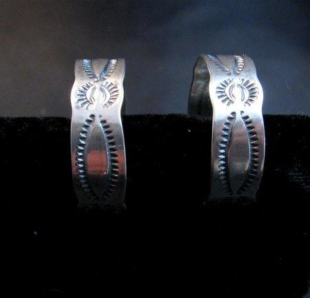 Image 0 of Native American Navajo Sterling Silver Hoop Earrings Everett & Mary Telller