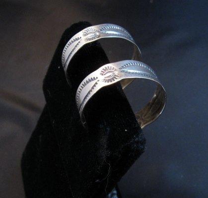 Image 1 of Native American Navajo Sterling Silver Hoop Earrings Everett & Mary Telller