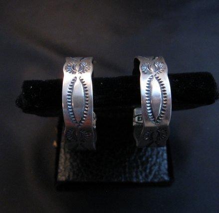 Image 2 of Native American Navajo Sterling Silver Hoop Earrings Everett & Mary Telller