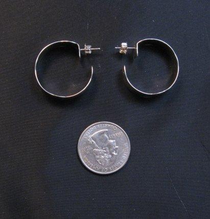 Image 3 of Native American Navajo Sterling Silver Hoop Earrings Everett & Mary Telller