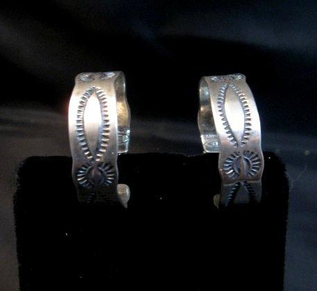 Image 4 of Native American Navajo Sterling Silver Hoop Earrings Everett & Mary Telller