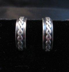 Native American Braided Sterling Silver Hoop Earrings Everett & Mary Telller