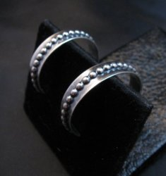 Native American Beaded Sterling Silver Hoop Earrings Everett & Mary Teller