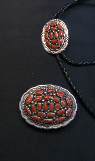 Image 4 of Old Dead Pawn Native American Coral Buckle