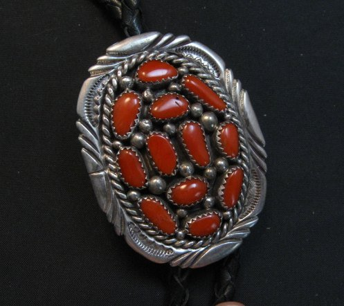 Image 1 of Dead Pawn Native American Coral Bolo, hallmarked