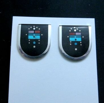 Image 1 of Jim Harrison Navajo Inlay Yei Night Sky Earrings