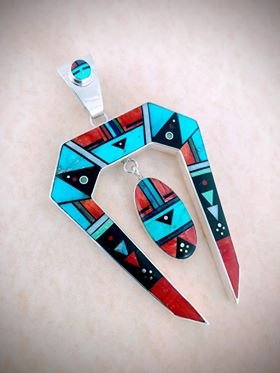 Image 0 of Jim Harrison Navajo Native American Inlay Pendant, One-of-a-Kind