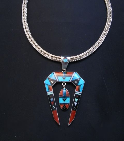 Image 2 of Jim Harrison Navajo Native American Inlay Pendant, One-of-a-Kind