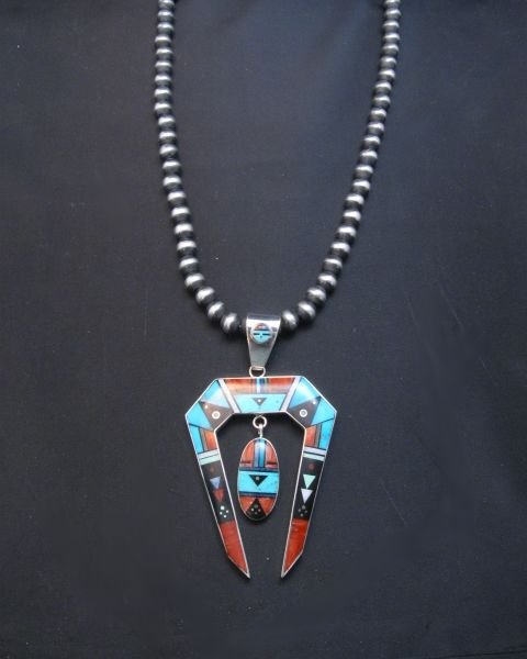 Image 3 of Jim Harrison Navajo Native American Inlay Pendant, One-of-a-Kind