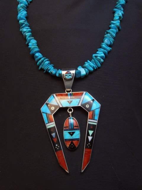 Image 1 of Jim Harrison Navajo Native American Inlay Pendant, One-of-a-Kind