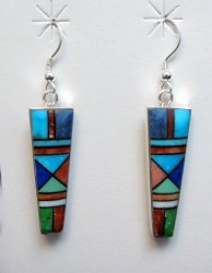 Jim Harrison Navajo Multigem Inlay Dangle Earrings
