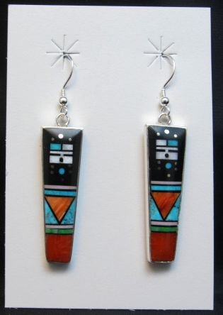 Image 0 of Jim Harrison Navajo Yei Multigem Inlay Dangle Earrings