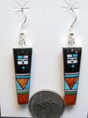 Image 1 of Jim Harrison Navajo Yei Multigem Inlay Dangle Earrings