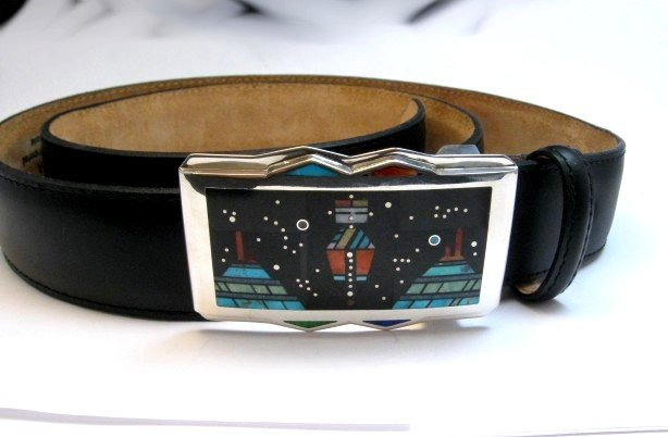Image 4 of Jim Harrison * Navajo * Inlaid Mother Earth Night Sky Buckle with Belt