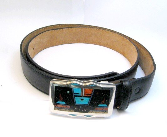 Image 2 of Jim Harrison Navajo Inlaid Father Sky Buckle with Belt