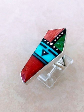 Image 0 of Jim Harrison Navajo Multigem Inlay Sunface Ring sz6-1/4