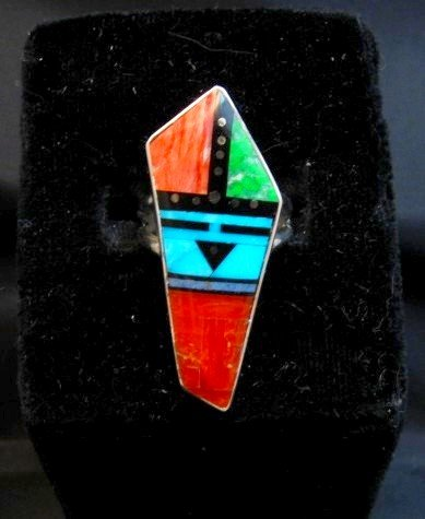 Image 2 of Jim Harrison Navajo Multigem Inlay Sunface Ring sz6-1/4