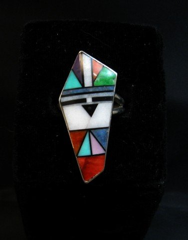 Image 2 of Jim Harrison Navajo Multigem Inlay Sunface Ring sz9