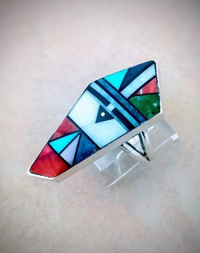 Image 0 of Jim Harrison Navajo Multigem Inlay Sunface Ring sz9