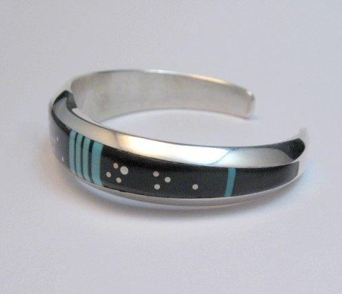 Image 2 of Jim Harrison Navajo Inlaid Black and Turquoise Night Sky Bracelet, size S-M