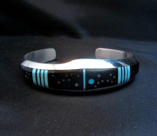 Image 4 of Jim Harrison Navajo Inlaid Black and Turquoise Night Sky Bracelet, size S-M