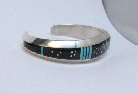Image 1 of Jim Harrison Navajo Inlaid Black and Turquoise Night Sky Bracelet, size S-M