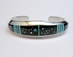 Jim Harrison Navajo Inlaid Black and Turquoise Night Sky Bracelet, size S-M