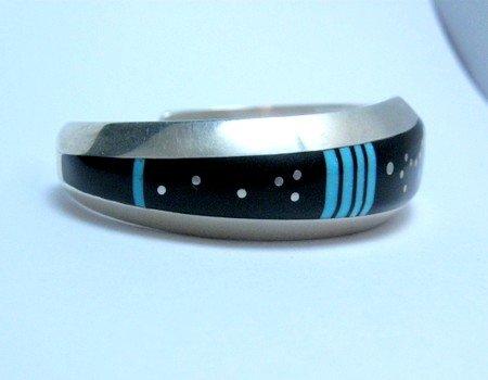 Image 2 of Jim Harrison Navajo Inlaid Black Night Sky Bracelet, 5-1/2