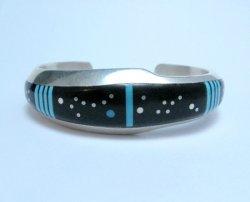 Jim Harrison Navajo Inlaid Black Night Sky Bracelet, Small