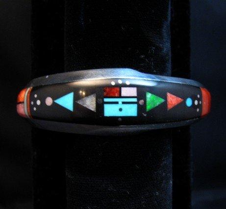 Image 3 of Jim Harrison Navajo Native American Multigem Inlaid Bracelet