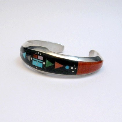Image 1 of Jim Harrison Navajo Native American Multigem Inlaid Bracelet