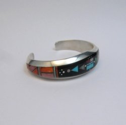 Jim Harrison Navajo Native American Multigem Inlaid Bracelet, 6-1/4