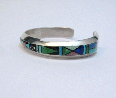 Image 1 of Narrow Jim Harrison Navajo Multigem Inlaid Bracelet size S-M