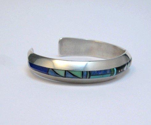 Image 2 of Narrow Jim Harrison Navajo Multigem Inlaid Bracelet size S-M