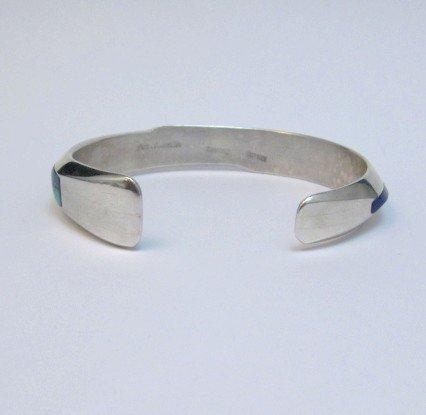 Image 3 of Narrow Jim Harrison Navajo Multigem Inlaid Bracelet size S-M