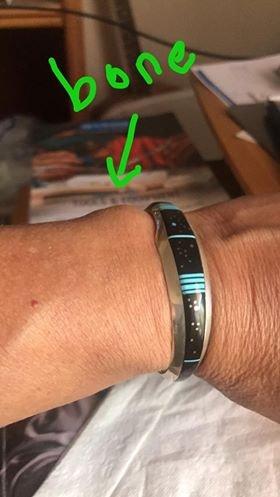 Image 4 of Narrow Jim Harrison Navajo Multigem Inlaid Bracelet size S-M