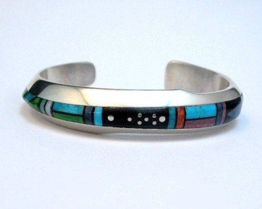 Image 0 of Jim Harrison Navajo Contemporary Multigem Inlaid Bracelet, Small