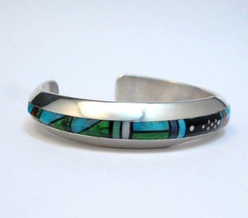 Image 1 of Jim Harrison Navajo Contemporary Multigem Inlaid Bracelet, Small