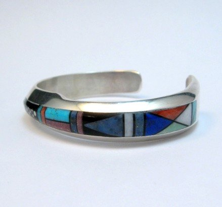 Image 2 of Jim Harrison Navajo Contemporary Multigem Inlaid Bracelet, Small