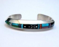 Jim Harrison Navajo Contemporary Multigem Inlaid Bracelet, Small