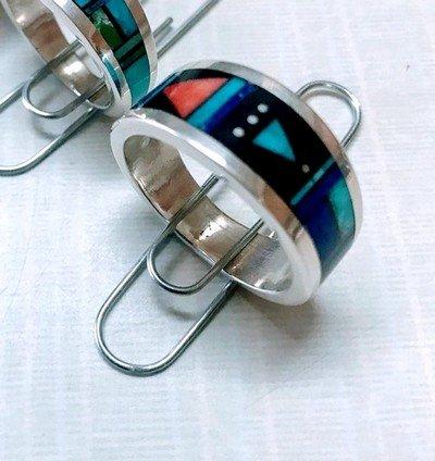 Image 1 of Jim Harrison Navajo Multistone Inlay Silver Ring sz13