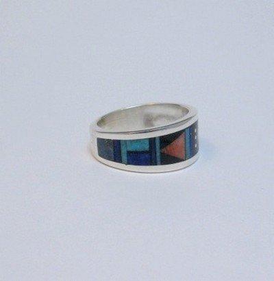 Image 2 of Jim Harrison Navajo Multistone Inlay Silver Ring sz13